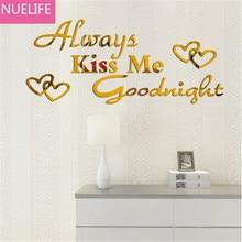 73x30cm Kus me Goodnight Engelse spiegel muurstickers woonkamer kinderkamer TV sofa achtergrond decoratieve spiegel N1