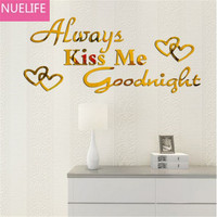73x30cm Kiss me Goodnight english mirror wall stickers living room kids room TV sofa background decorative mirror stickers N1