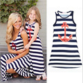 Summer Family Matching Outfits Ankle-Length Beach Dresses For Girls&Mother Stripe Ankle-Length Mother Daughter Holiday Clothes