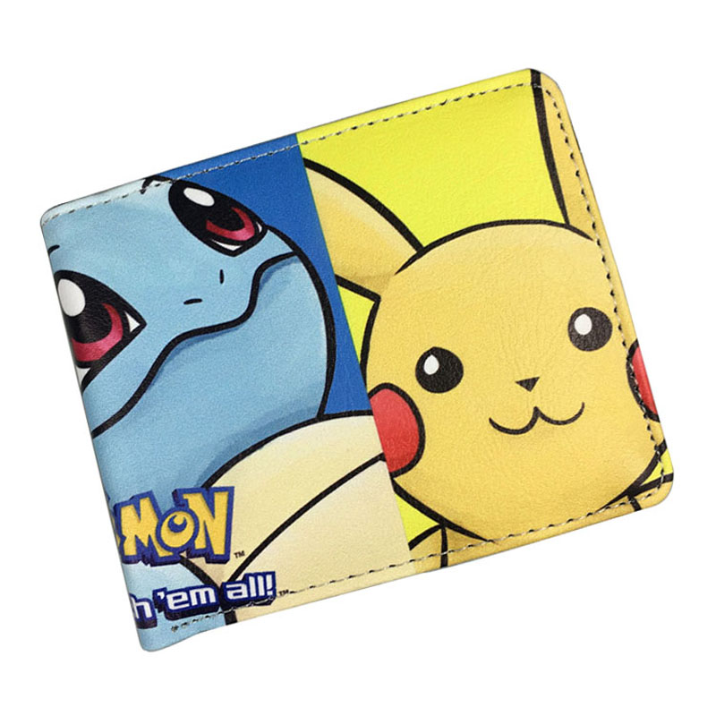 Cartoon Cute Pikachu Wallets Pocket Monster Ball Purse Pokemon Go Gift Kids Card Holder Bags Boy Girl Leather Short Wallet new cartoon pikachu cosplay cap black novelty anime pocket monster ladies dress pokemon go hat charms costume props baseball cap