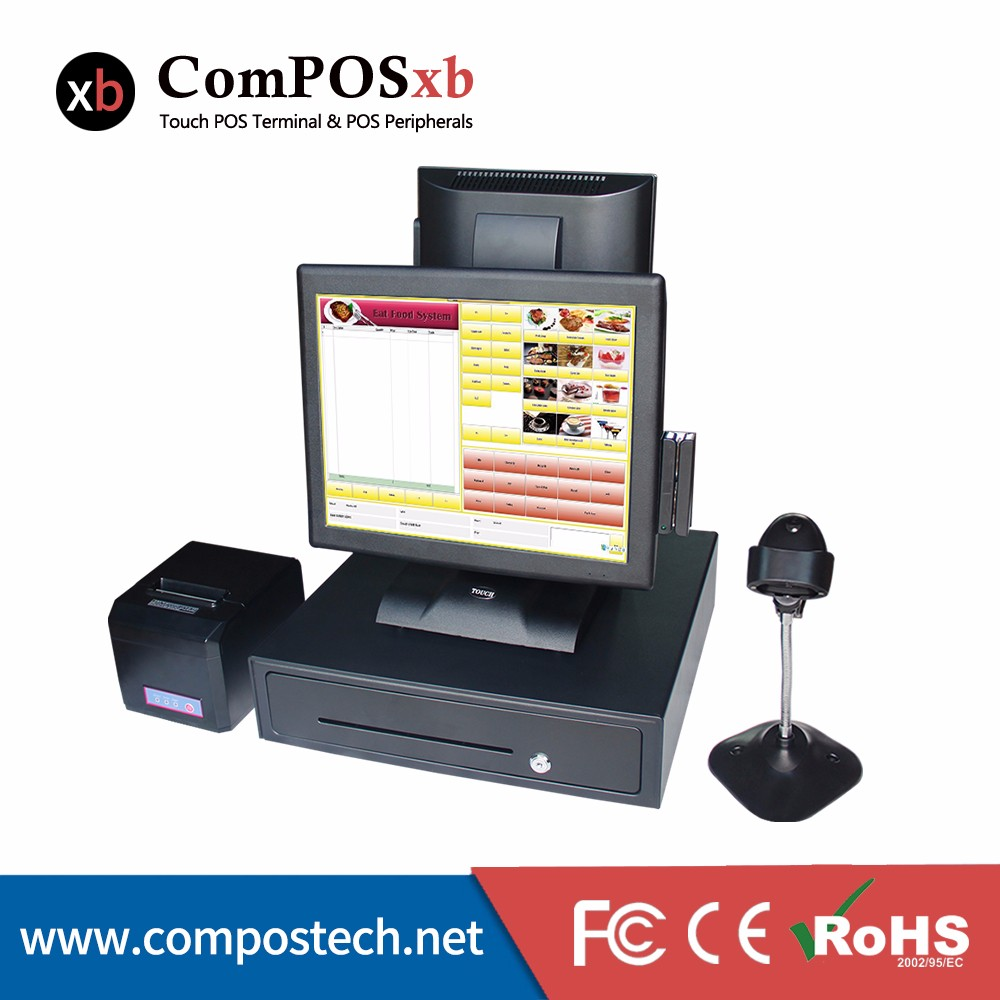 Free Shipping Wholeset Commercial EPOS System Dual Screen Display Touch Computer All In One PC Pos Terminal With MSR free shipping pos software cheap touch
