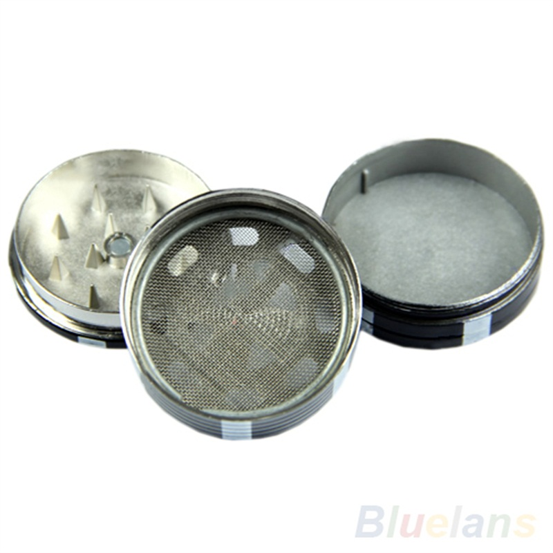 New Metal Three Layers Poker Style Herbal Herb Tobacco Grinder Hand Muller Black