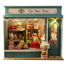 24th Wooden Dolls house Handcraft Miniatures DIY Kit – Voice control LED Light turn on/off & Music box Many Bear Model
