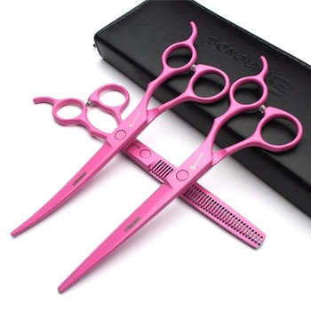 цена на 7 inch Pink professional hair scissors hairdressing scissors Barber Hair Curved Thinning and Cutting Scissors Set