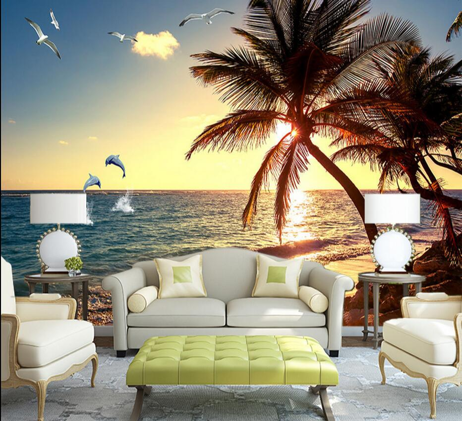 blue wall mural promotion shop for promotional blue wall mural on 3d mural wallpaper sea landscape wall paper roll photo wall murals blue sky sea mew bird wall paper painting oil painting