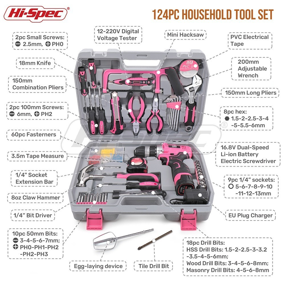 Hi-Spec 124 Piece Pink Household Hand Tool Set Kit 16.8V Electric Screwdriver Li-ion Battery Power Tool Set Girl Women Lady Tool