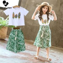 2Pcs Summer Girls Clothes Sets Baby Girl Short Sleeve T Shirt Tops with Wide Leg Pants Shorts Suits Kids Clothing Printed Sets 2pcs baby girl set cotton t shirt baby girl clothes girls clothing sets short sleeve skirts casual 2pcs girls suits
