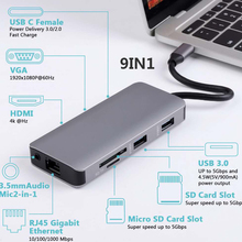 Docking Station with Type C Plug HDMI VGA USB3.0 Audio Power Delivery Hub for Laptop Macbook Pro HP DELL Surface Lenovo Samsung