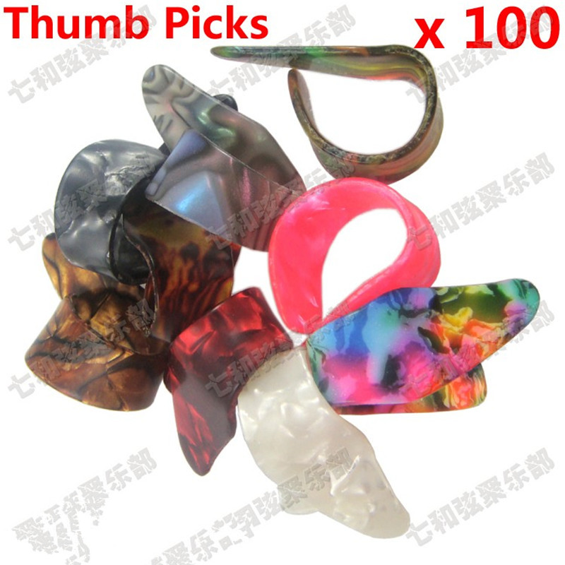 100 Pcs mix color Celluloid thumb pick Guitar Picks Plectrums