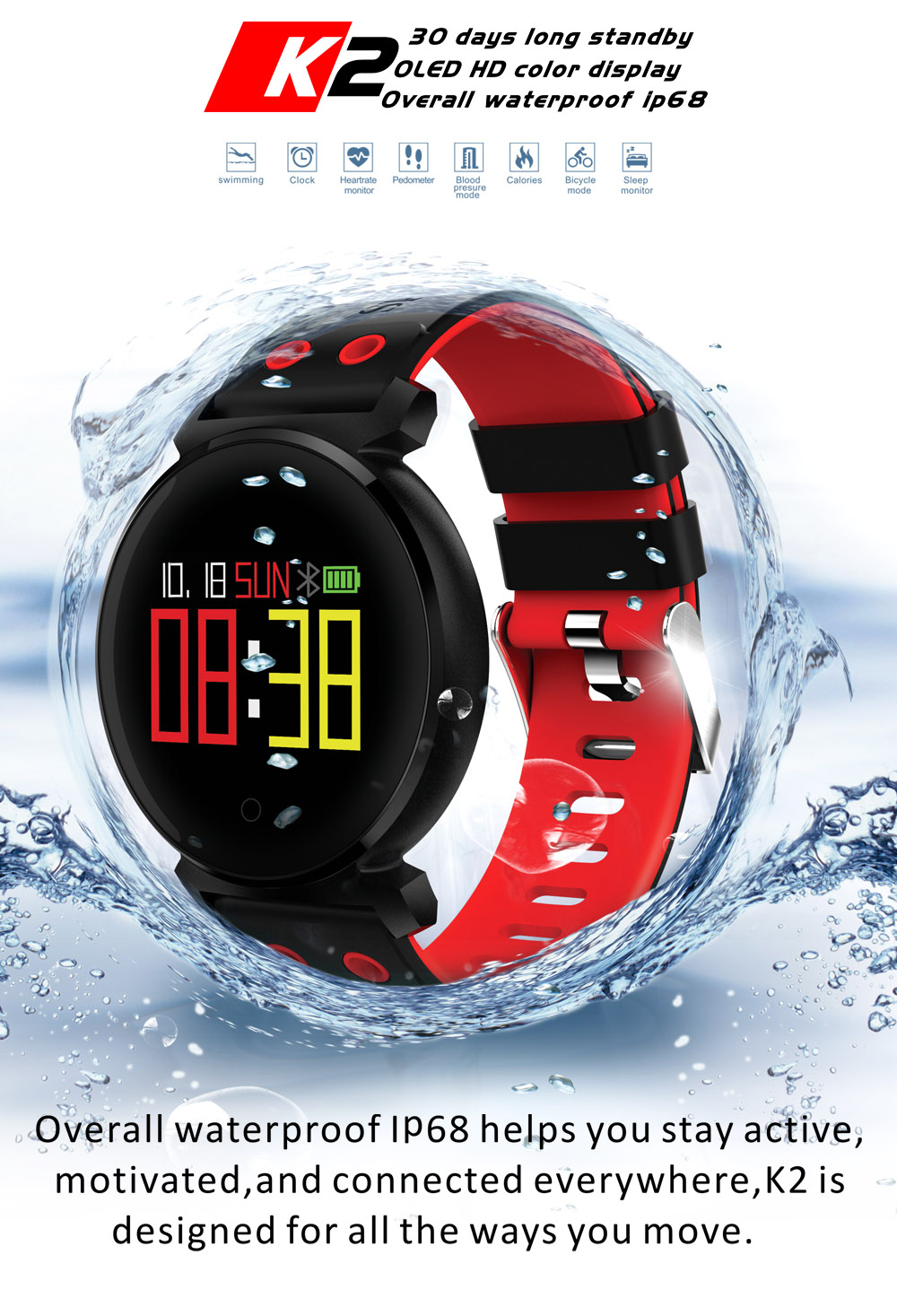 IP68 étanche montre intelligente traqueur de fréquence cardiaque pression artérielle pour Iphone Huawei Xiaomi Samsung natation équitation montre APP Bracelet