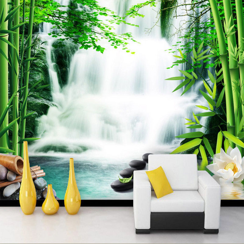 Custom Any Size Mural Wallpaper 3D Stereo Waterfall Bamboo Forest Wall Painting Living Room TV Backdrop Wall Decor Papel Murals