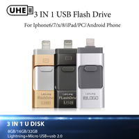 UHE New Arrival Flash Drive Creative 3 Ports In 1 Pendrive For IPhone 5 6 7