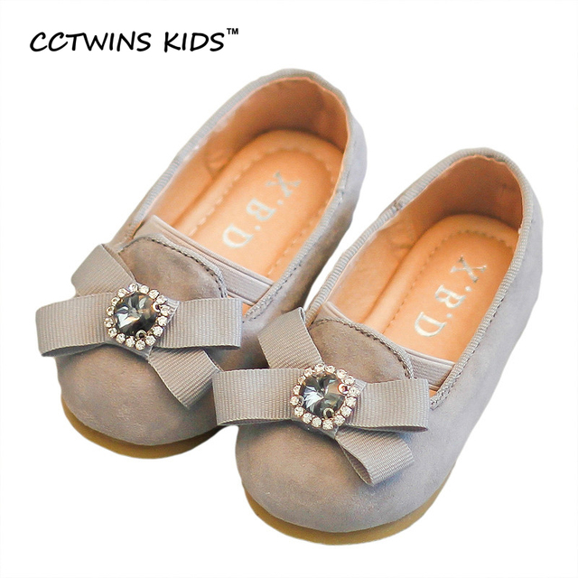CCTWINS KIDS 2017 Spring Bow Ballet Pump Children Fashion Rhinestones Shoe Toddler Pu Leather Kid Brand Baby Girl Flat G1070