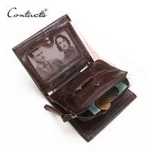 CONTACTS ארנק זכר עור אמיתי גברים ארנקים יוקרה מותג בעל כרטיס אופנה ארנק מטבעות ארגונית קטן ארנקים Mens Walet