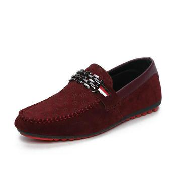 الرجال أحمر أسفل الأحذية والجلود البقر الطبقة الأولى حذاء بدون كعب رجل صياد أحذية رياضية الأزياء الأوروبية نمط