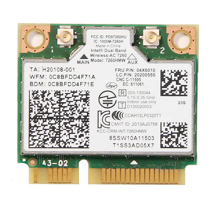 Dual Band Wireless-AC 7260 7260HMW 802.11ac Mini PCI-E Wifi + Bluetooth 4.0 Wlan Card 867M Lenovo IBM Thinkpad FRU: 04X6090