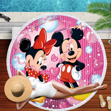 150CM Summer Minnie Mickey Mouse Fashion Anime Bath Towels Soft Beach Towel Cartoon Washcloth Unisex NEW