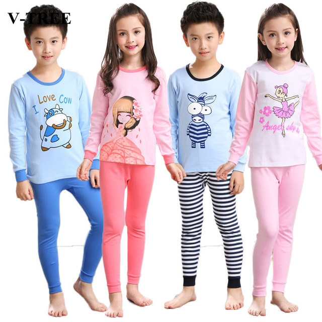 af2a4d73fa V-TREE Autumn winter girls pajamas long sleeve boys sleepwear cotton pyjamas  children cartoon kids pajama sets for 2-10Y