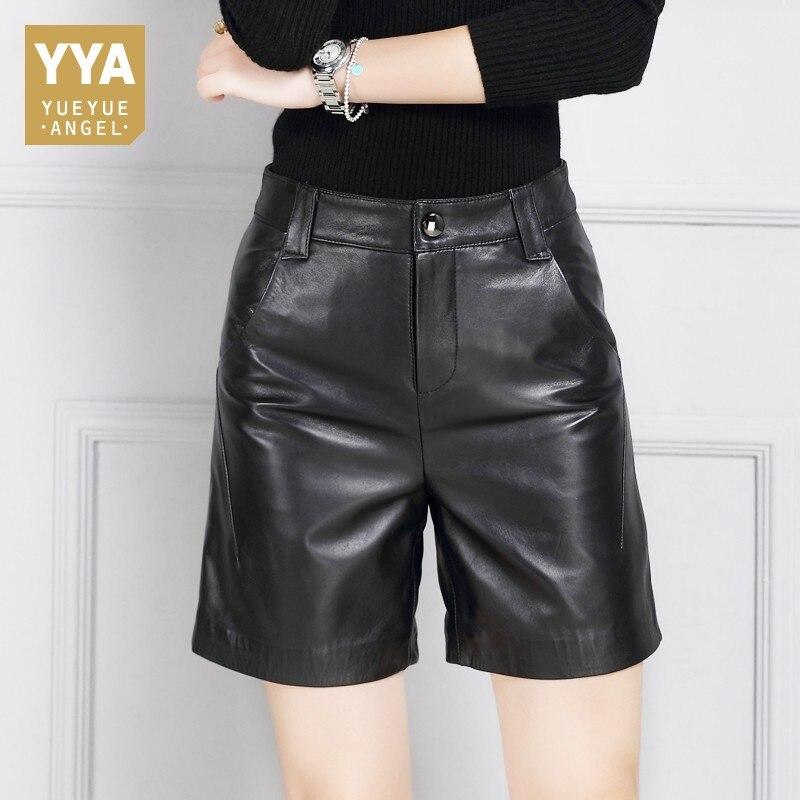 Новые осенние модные женские туфли шорты из натуральной кожи Высокая Талия Повседневное high Street Офисные женские туфли прямые овчины черный