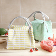 605a788499 Japanese Style Leisure Women Portable Lunch Bag Canvas Stripe Insulated Cooler  Bags Thermal Food Picnic Kids