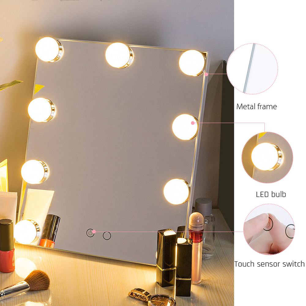 New Arrival Makeup Mirror 9 LEDs Bulbs Dimmable USB Power Vanity Mirror Tabletop Touch Control Cosmetic Mirror With LightNew Arrival Makeup Mirror 9 LEDs Bulbs Dimmable USB Power Vanity Mirror Tabletop Touch Control Cosmetic Mirror With Light
