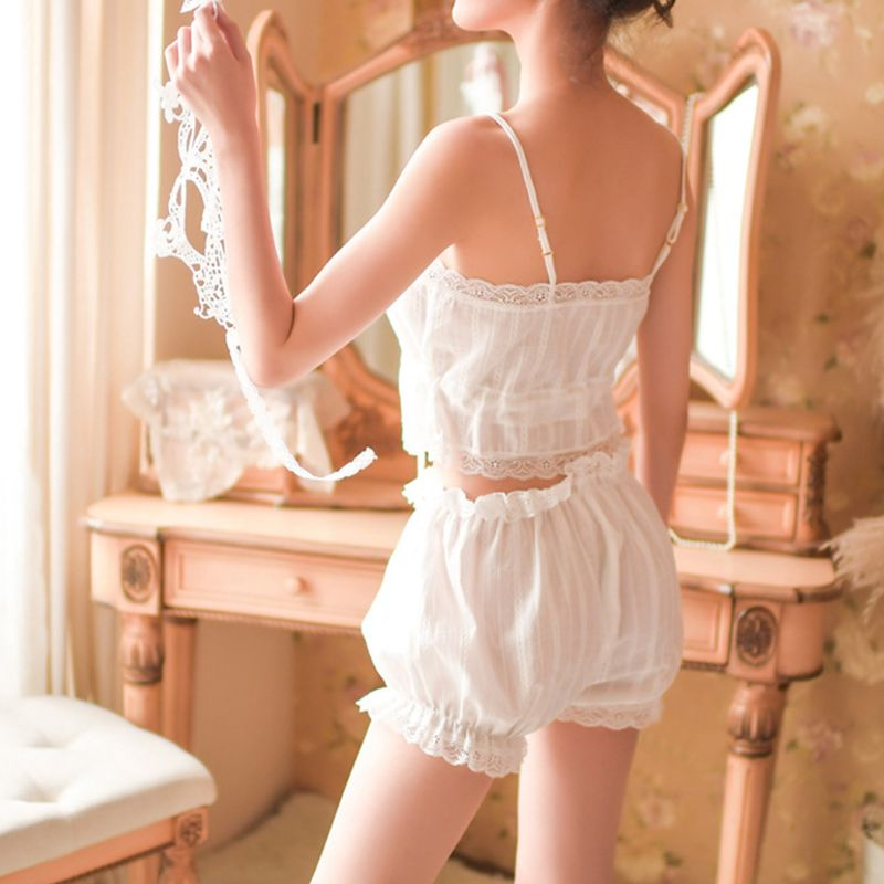 Womens Victoria French Palace Sexy Lingerie Pajamas Set Button Up Drawstring Crop Top Camisole Ruffled Lace Bloomers Sleepwear in Babydolls Chemises from Novelty Special Use
