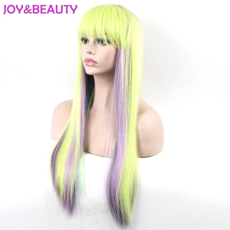Glädje och skönhet Lång Afro Kinky Rak Regnbågsfärg Paryk - Syntetiskt hår - Foto 3