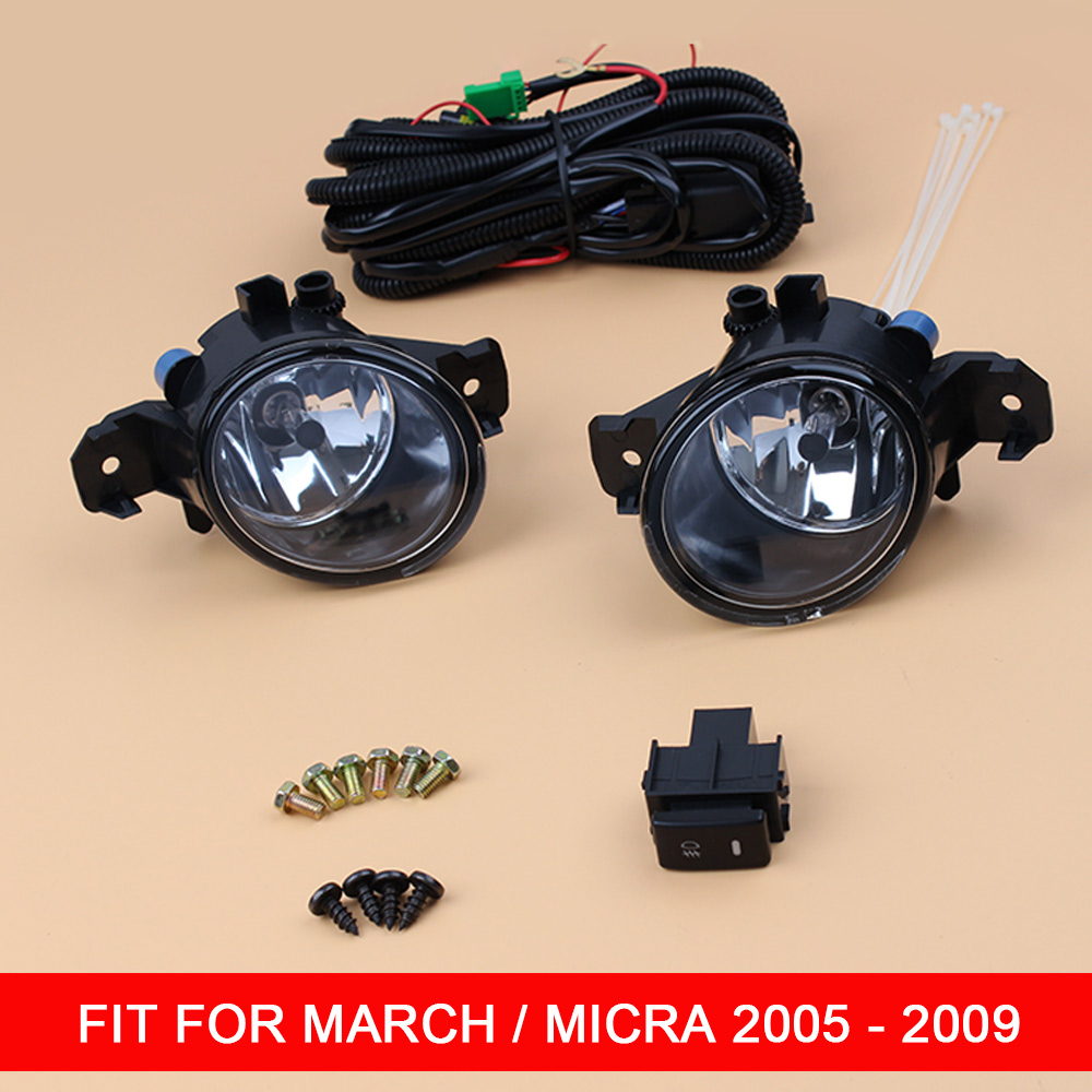 1 Pair 12V Car Fog Lamp Assembly with Fog Light and Wire Relay Switch Button for