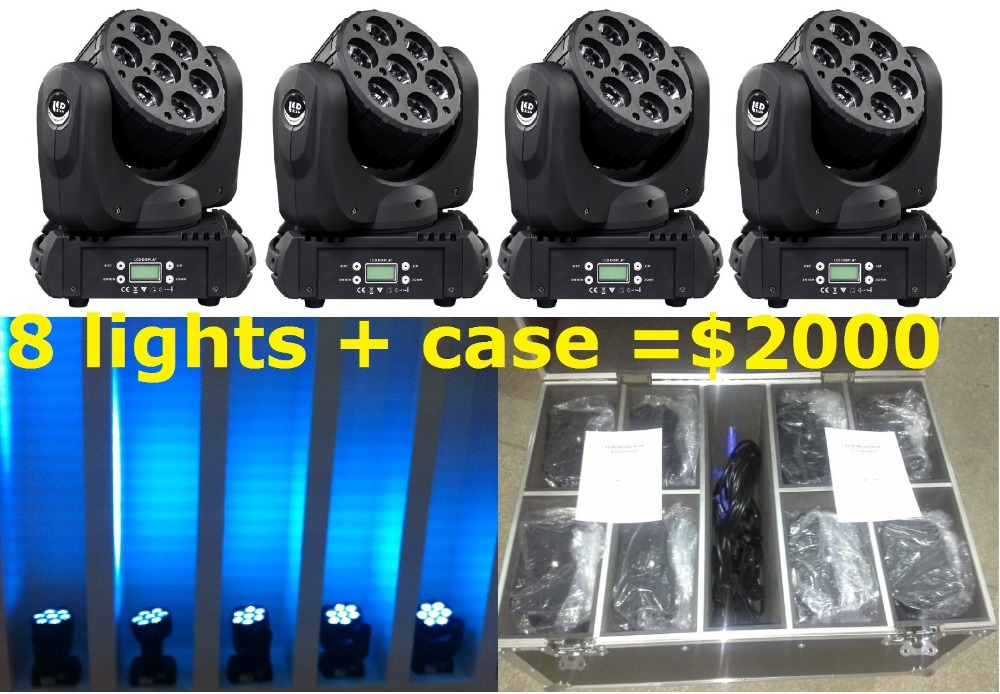 Sales 8XLot LED Moving Head Beam Wash Spot Lights with Flightcase Big 7pcs 12W RGBW 4in1 Quad Color DJ Disco DMX Stage Equipment