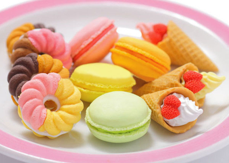 Valentine's Day Gifts/french Dessert Ice Cream Circle Bread Malone Eraser/removable Rubber Polishing/erasers Hot Sale K6812