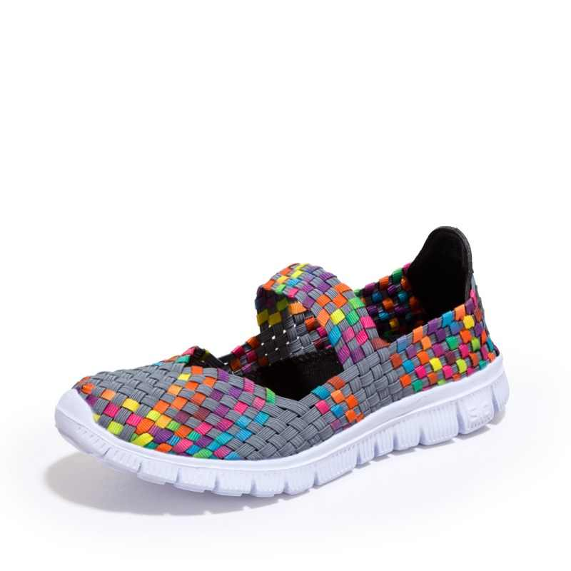 ZHENZU Female Light Running Shoes Antislip Hand-made Weave Sneakers Women Breathable Cool Athletic Sport Shoes Summer Flats