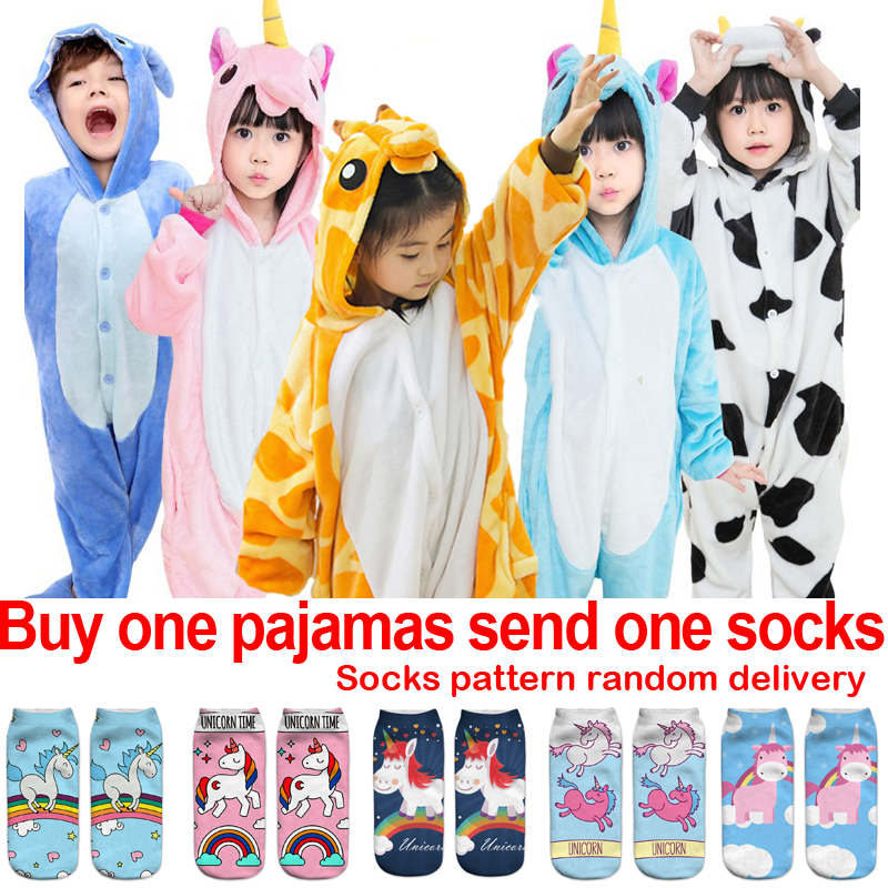 Unicorn Kids Pajamas girls Boys Pijama stitch panda Pikachu Cosplay Animal  onesie children Pyjamas sleepers Flannel e15b273c3