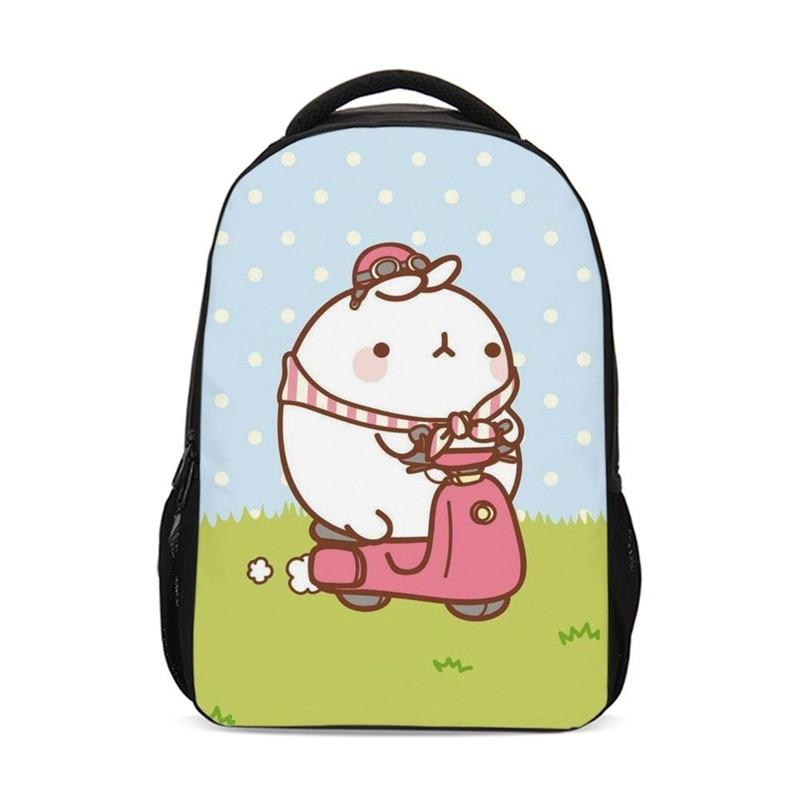 21369aff1313 Рюкзак для мальчиков и девочек модный мультфильм милый кролик Molang 3D  печать Bookbag Подростковая детская школьная