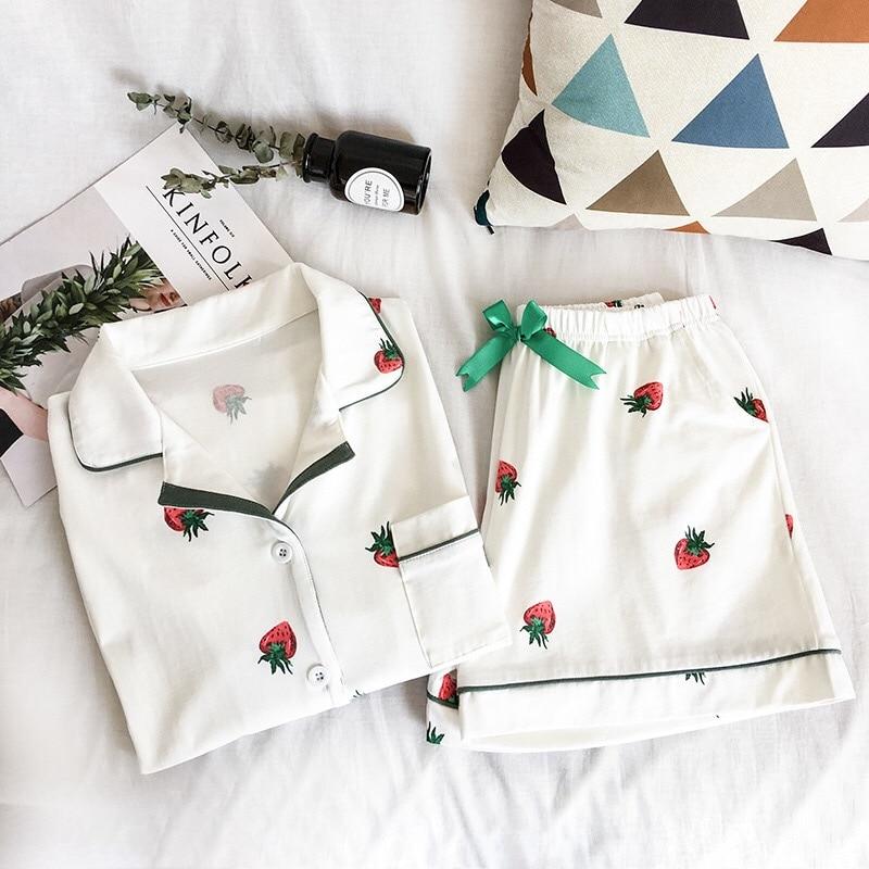 Summer Women Pajamas Suit Strawberry Printing Short Sleeve Turn-down Collar Elastic Waist Shorts Girls Home Lovely Two Piece Set