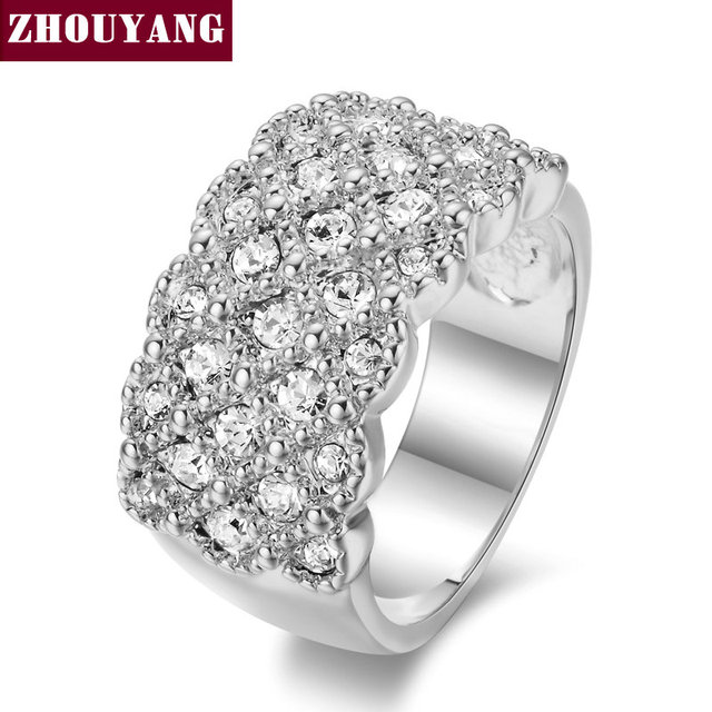 Top Quality ZYR087 Silver Color Fully-Jewelled Ring Wedding Ring Austrian Crysta