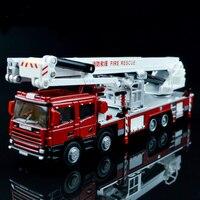 1 Pz In Lega di Ingegneria Sollevare Autopompa antincendio Veicolo 1:50 Supporto Originale Scaletta aerea Fire Truck Simulator Modello Pressofuso giocattoli