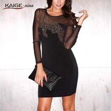 KAIGE NINA Sexy Solid Mesh Dress Women Casual Mini Autumn Fashion Dress Full Sleeve Sheath Plus Size Dress Vestido 2410