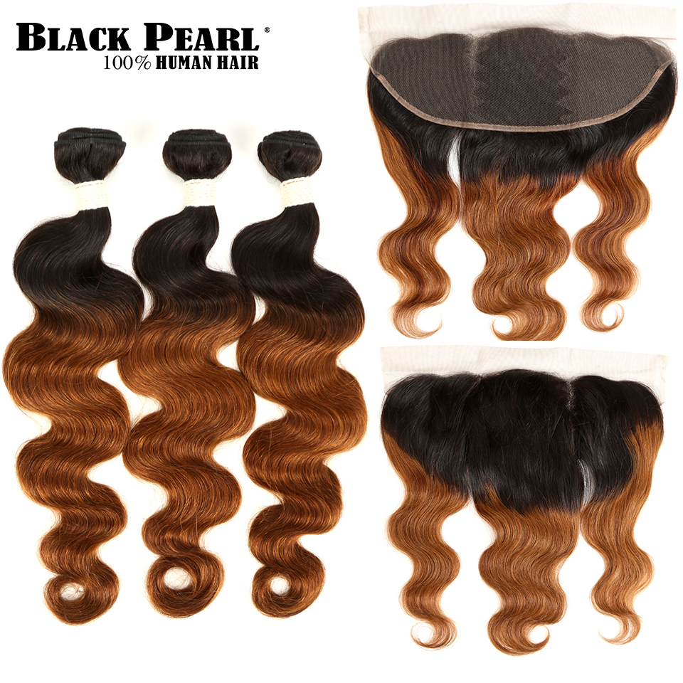 BlackPearl Brazilian Body Wave Bundles With Closure Brazilian Hair Weave Bundles With Closure NonRemy Ombre Bundles