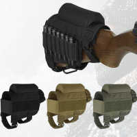 Tactical Cheek Rest Adjustable Outdoor Tactical Butt Stock Rifle Cheek Rest Bullet Holder Nylon Riser Pad Ammo Cartridges Bag