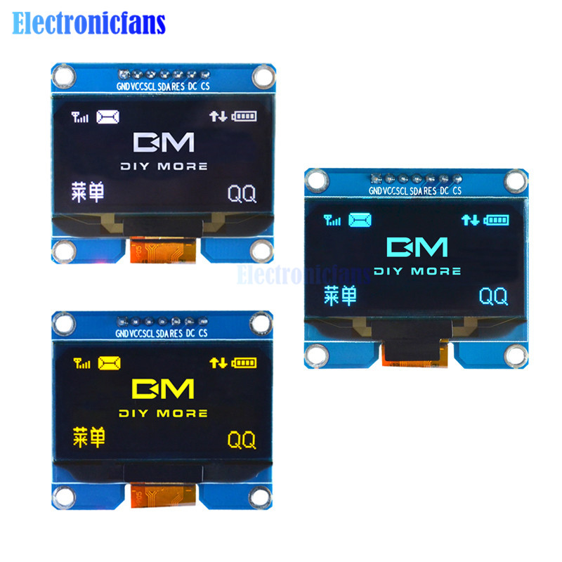 1.54 Inch SSD1309 OLED Display Module 128x64 SPI IIC I2C Interface OLED Screen Board 3.3-5V UART For Arduino Yellow/White/Blue