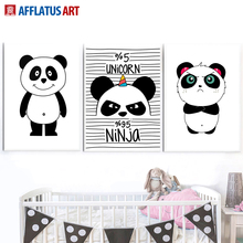 цена Black White Panda Nordic Posters And Prints Wall Art Canvas Painting Pop Art Print Wall Pictures For Living Room Kids Room Decor онлайн в 2017 году