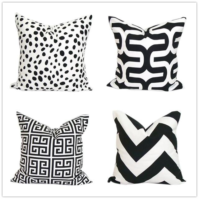 Schwarz Weiß Griechischen Key Chevron Leopard Leinwand Kissenbezug,  Geometrische Dekokissen Abdeckung, Dekorative Sofa Kissenbezüge