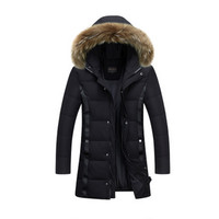 2017 New Fashion Mens Long Style Warm Parka Jacket Casual Korean Version Solid Color Thick Jacket