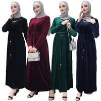 New Ramadan Muslim Women Long Maxi Dress Velour Robe Abaya Jilbab Islamic Kaftan Cocktail With Sash Long Sleeve Dresses Fashion