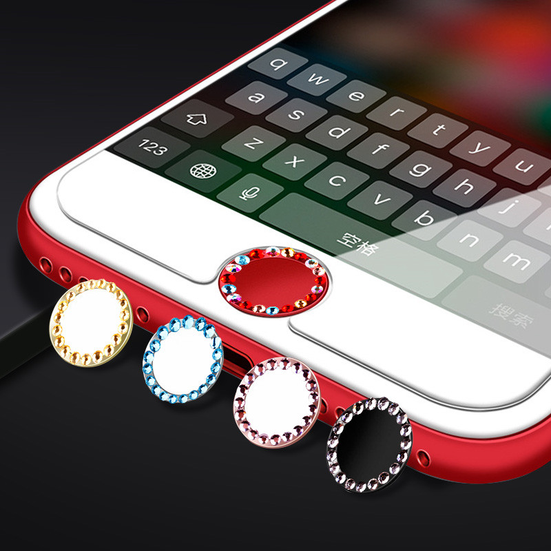 SIANCS Bling Rhinestone Home Button Sticker Cover For