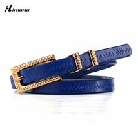 Retail Gold Plating Carving Buckle Paint Cowhide Belt Genuine Leather Thin Female Belts For Women Fashion