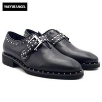 Винтаж пряжки ремня мужская обувь из натуральной кожи Дизайнерские офисные Повседневное Бизнес заклепки Туфли под платье ручной работы