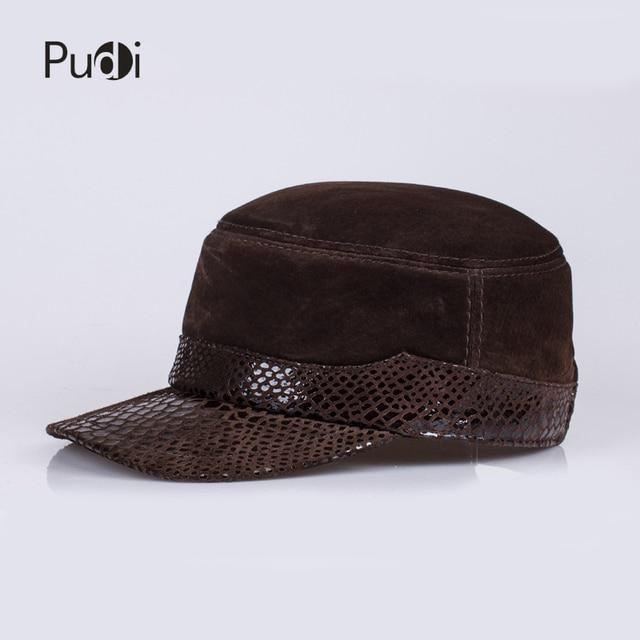 HL021 hombres de cuero genuino gorra de béisbol hombres sombrero de cuero  real sólidos adultos ajustable 65fc7109e12b