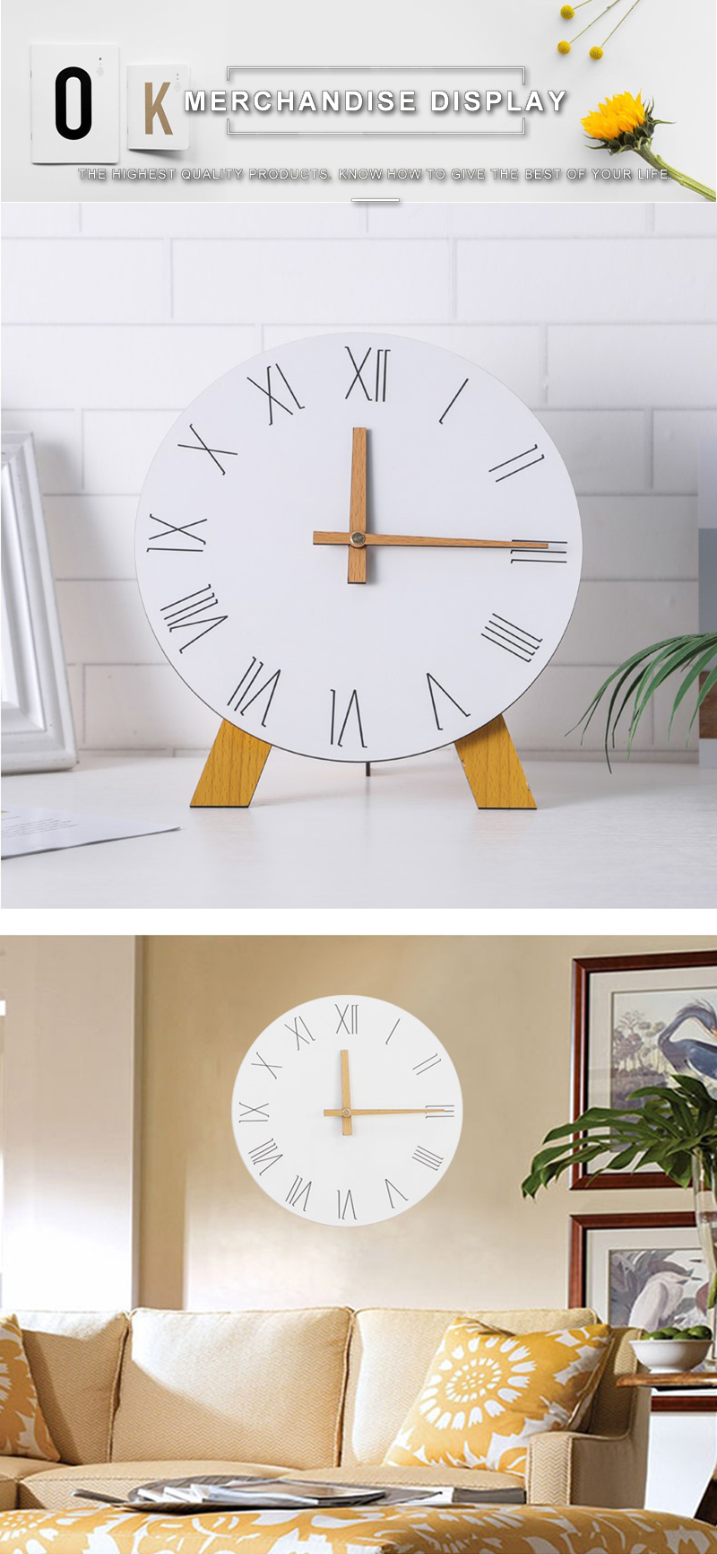 study clock watch office office table decoration flip calendar bamboo clock desk clock circular electronic desktop clock dementia clock (5)