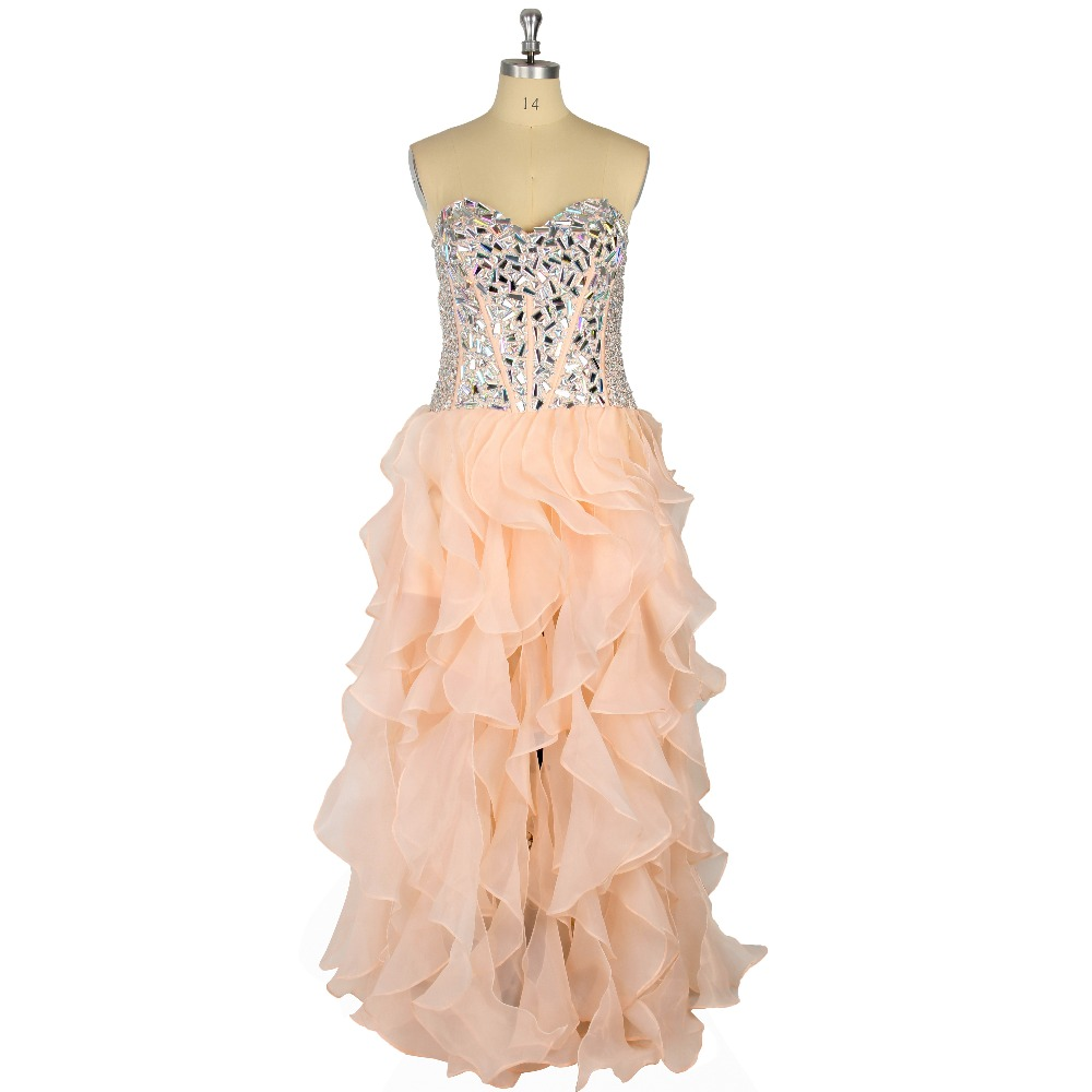Champagne Ruffles Crystal Tired A-Line Floor-Length Zipper Formal Event   Prom     Dress